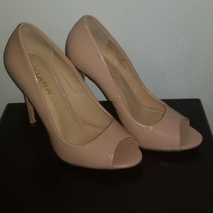 Worn Once - Patent Leater Nude Peep Toed Pumps